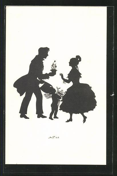 Künstler-AK Elsbeth Forck: Schattenbild Mann und Frau mit kleinem Engel und Blumen aus der Biedermeierzeit