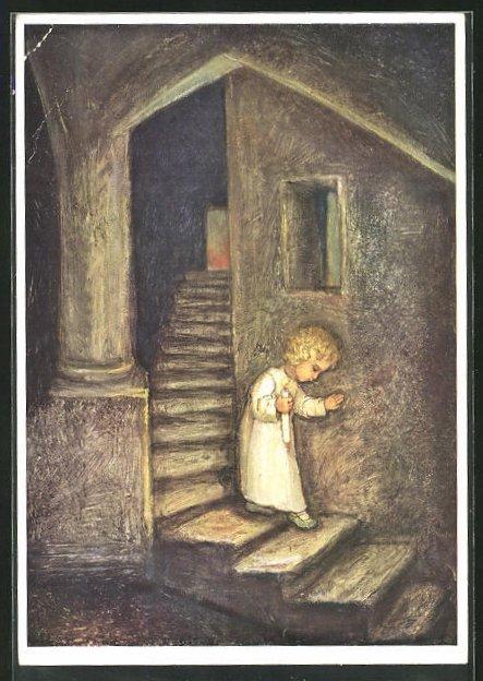Künstler-AK Maria Spötl: VMS, Kind mit Kerze