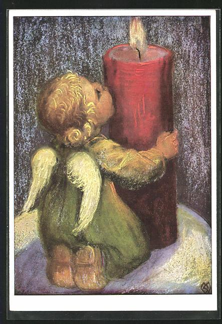 Künstler-AK Maria Spötl: VMS, Engel mit Kerze