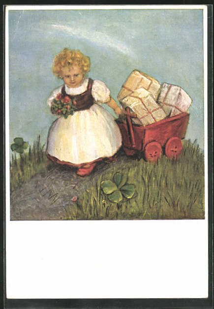 Künstler-AK Maria Spötl: Ich komm ` zu Dir, kleines Mädchen mit Geschenken
