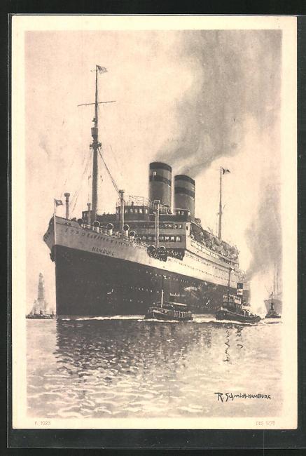 Künstler-AK Carl Diehl: Hamburg-Amerika Linie, Passagierschiff Hamburg