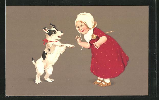 Künstler-AK Marie Flatscher (M.FL.): Kind und Hund im frohen Bund, unsigniert, Terrier