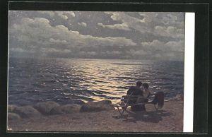 Künstler-AK sign. G. O. Kalmykoff: Mondnacht am Meer