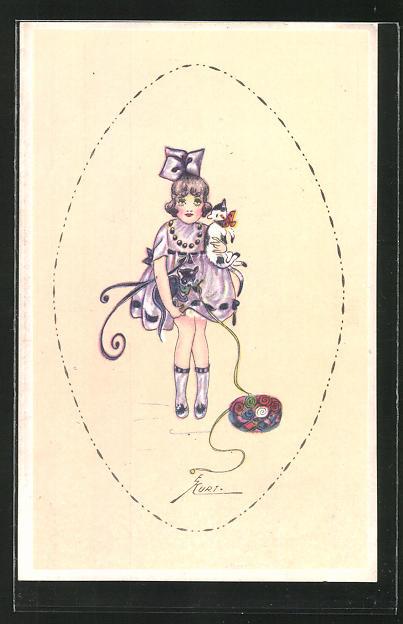 Künstler-AK Erna Maison-Kurt: Mädchen im lila Kleid mit Schleife und Katzen