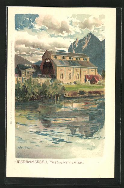 Künstler-AK Zeno Diemer: Oberammergau, Blick zum Passionstheater