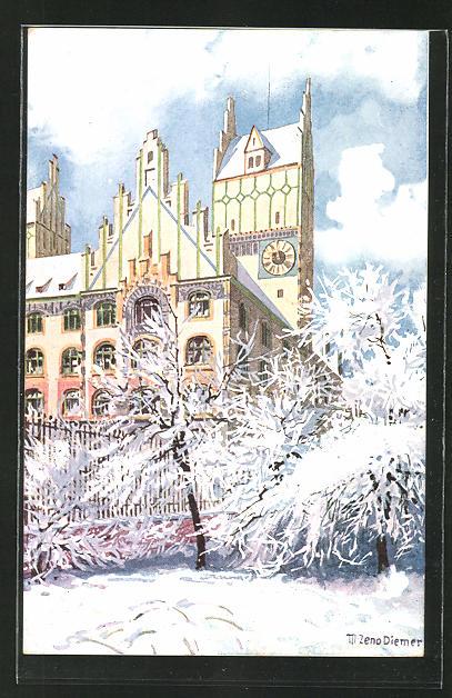 Künstler-AK Zeno Diemer: München, Winterpartie