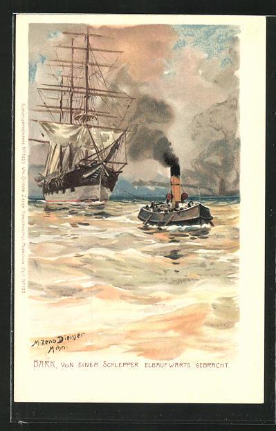 Künstler-AK Zeno Diemer: Segelschiff Bark, von einem Schlepper elbaufwärts gebracht