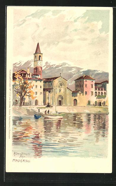 Künstler-AK Zeno Diemer: Maderno, Panorama