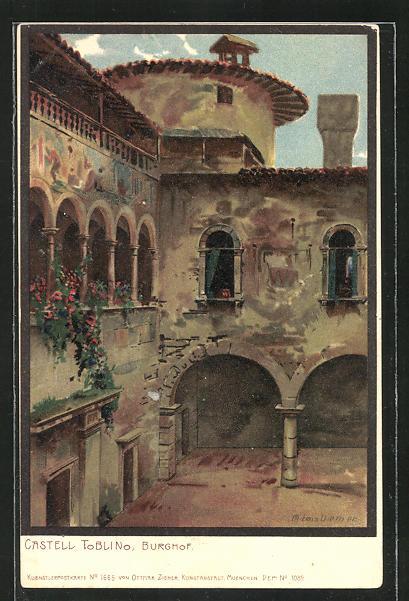 Künstler-AK Zeno Diemer: Toblino, Castell u. Burghof
