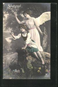 AK Schutzengel bewacht ein Mädchen mit einem Schmetterling auf der Hand