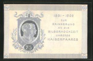 Präge-AK 1881 - 1906 zur Erinnerung an die Silberhochzeit unseres Kaiserpaares