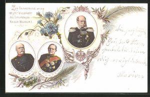 Lithographie 100 jähr. Wiederkehr des Geburtstages Kaiser Wilhelm I.