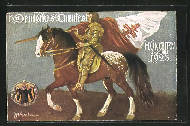 Künstler-AK München, 13. Deutsches Turnfest 1923, Ritter zu Pferd