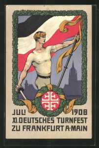 Künstler-AK H. Landgrebe: Frankfurt a/M, XI. deutsches Turnfest 1908, Fahnenträger
