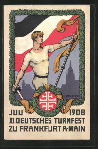 Künstler-AK H. Landgrebe: Frankfurt a/M, XI. deutsches Turnfest 1908, Athlet mit Fahne