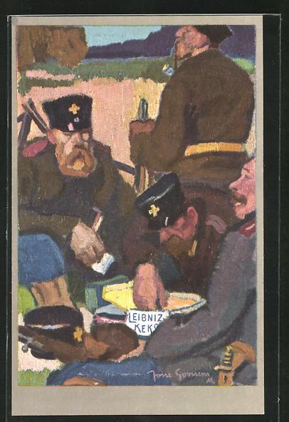 Künstler-AK Reklame für H. Bahlsens Keks-Fabrik in Hannover, Soldaten bei einer Rast