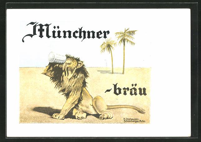 Künstler-AK Brauerei-Werbung für Münchner Bräu, Löwe säuft Bier