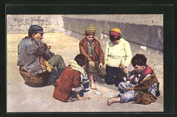 AK Monelli che giucano, Strassenkinder bei Kartenspiel