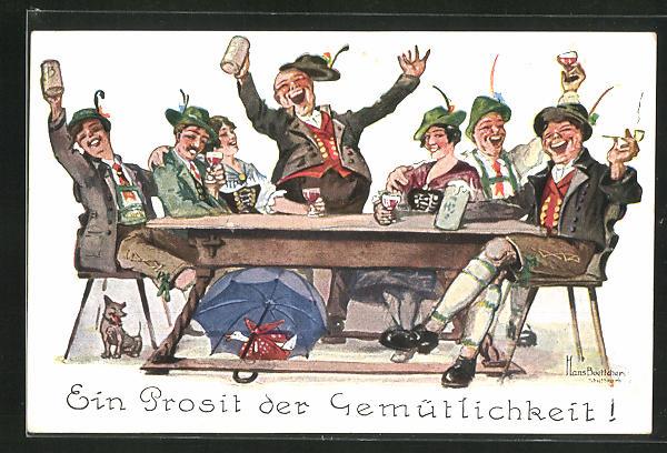 Künstler-AK Hans Boettcher: Ein Prosit der Gemütlichkeit!