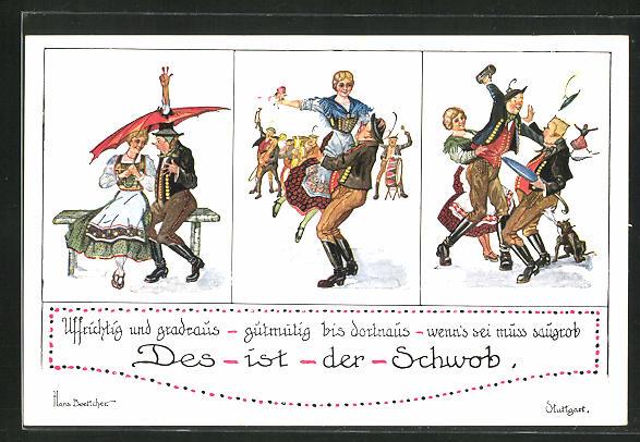 Künstler-AK Hans Boettcher: Des ist der Schwob..., Scherz