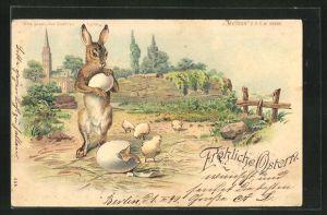 Lithographie Fröhliche Ostern, Halt gegen das Licht und Küken, Halt gegen das Licht, Engelk mit Glocke