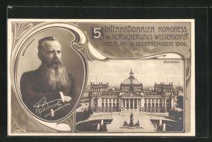 AK Berlin, 5. Intern. Kongress für Versicherungs-Wissenschaft 1906, Reichstag, Ehrenpräsident