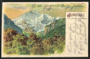 Lithographie Jungfrau, von Interlaken aus gesehen, Halt gegen das Licht, Berg mit Gesicht / Berggesicht, Berggesichter