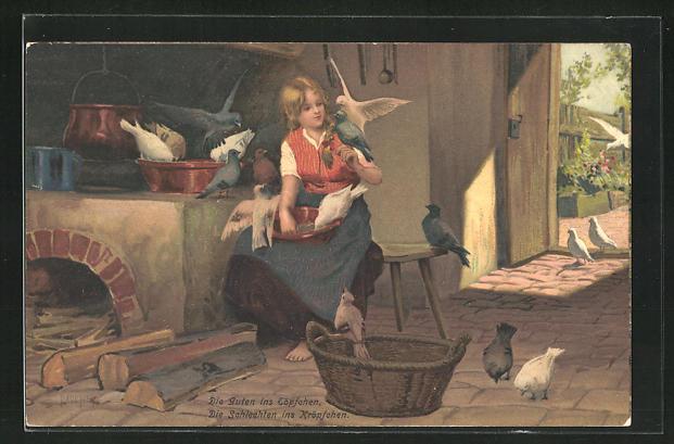 Künstler-Lithographie Paul Hey: Szene aus Aschenputtel, Die Guten ins Töpfchen...