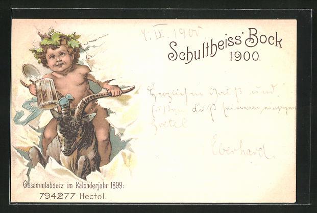 Lithographie Brauerei-Werbung Schultheiss` Bock 1900, Kind auf einem Ziegenbock