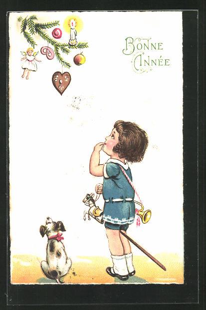 AK Mädchen mit Steckenpferd am Christbaum