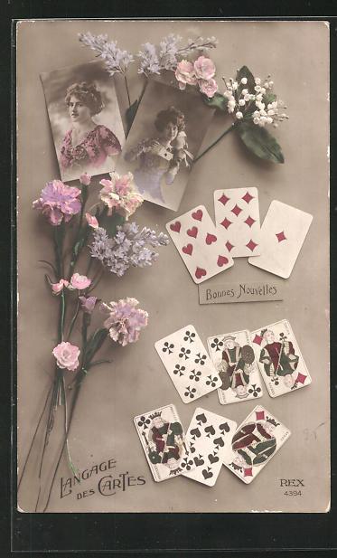 AK Langage des Cartes, Kartenspiel und Frauenportraits