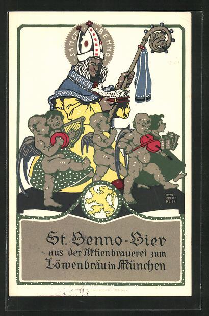 Künstler-AK Otto Obermeier: München, St. Benno-Bier der Aktienbrauerei zum Löwenbräu, Brauerei-Werbung