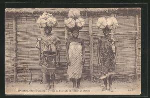 AK Madimba, Groupe de Bantandu se rendant au Marche, afrikanische Händlerin