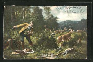 AK Jäger wird von Rehböcken bei der Rast im Wald gestört