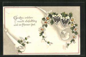 AK Zweibund, Schriftrolle mit Wappen, Grosses erleben macht ehrfürchtig und im Herzen fest.