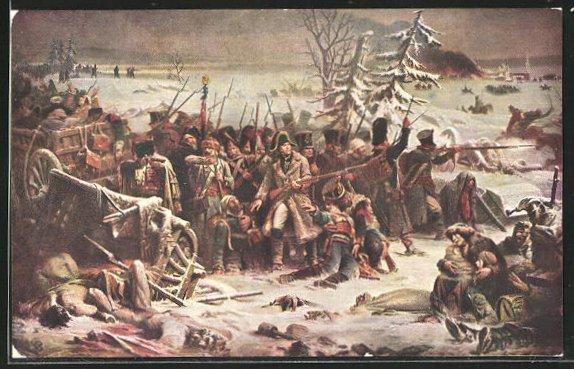 AK Soldaten beim Rückzug aus Russland 1812, Befreiungskriege
