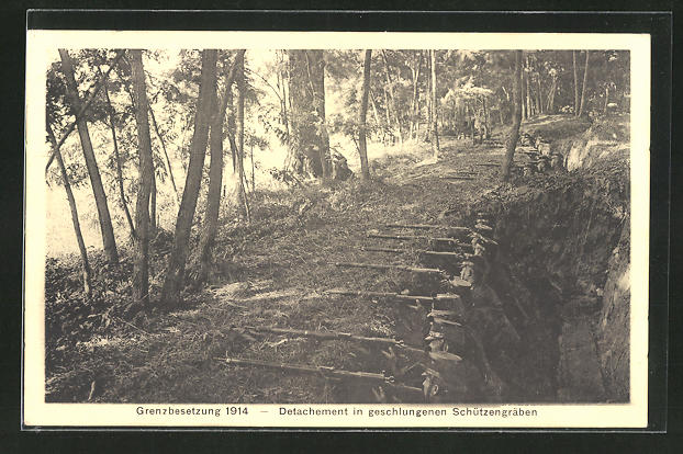 AK Schweizer Soldaten im Schützengraben, Grenzbesetzung 1914