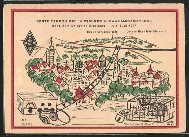 AK Stuttgart, Tagung der deutschen Kurzwellenamateure 1947, Radio und Ortsansicht