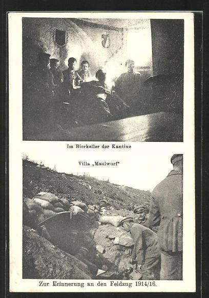 AK Soldaten in Uniform im Bierkeller der Kantine und am Schützengraben Villa Maulwurf