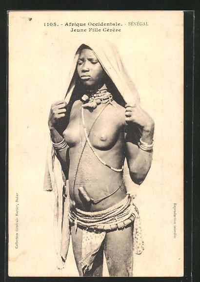 AK Senegal, Jeune Fille Cerere, afrikanische nackte Frau mit Skarifizierung