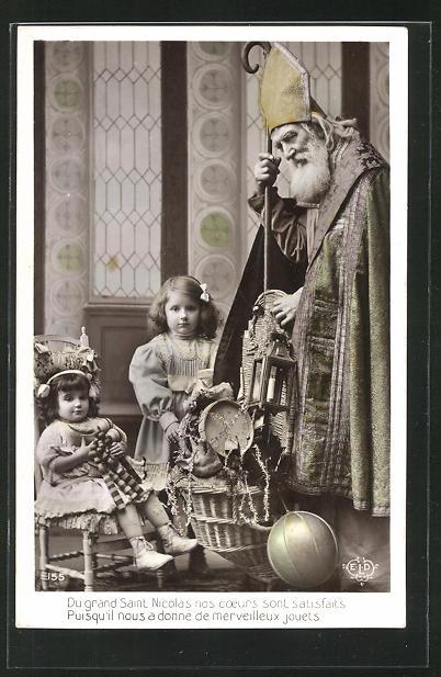 AK Sankt Nikolaus hat brave Mädchen reich beschenkt