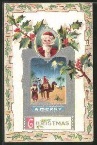 Präge-AK A Merry Christmas, Weihnachtsmann, Die heiligen drei Könige