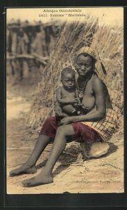 AK Femme Malinkée, afrikanische Mutter mit ihrem Kind