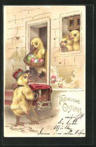 Präge-Lithographie Fröhliche Ostern, Osterküken spielt Leierkasten