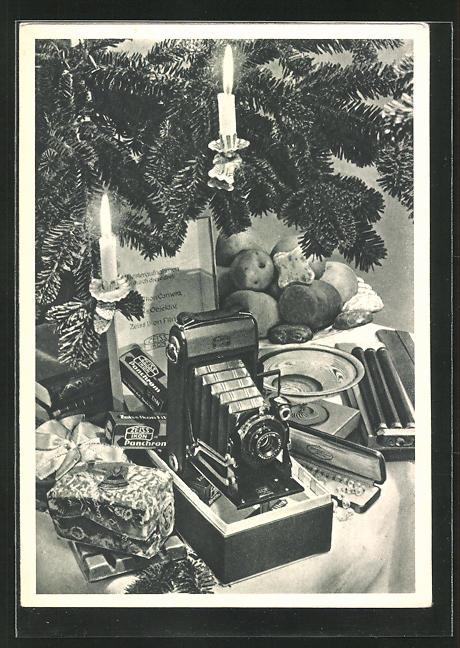AK Zeiss-Fotoapparat unter dem Weihnachtsbaum