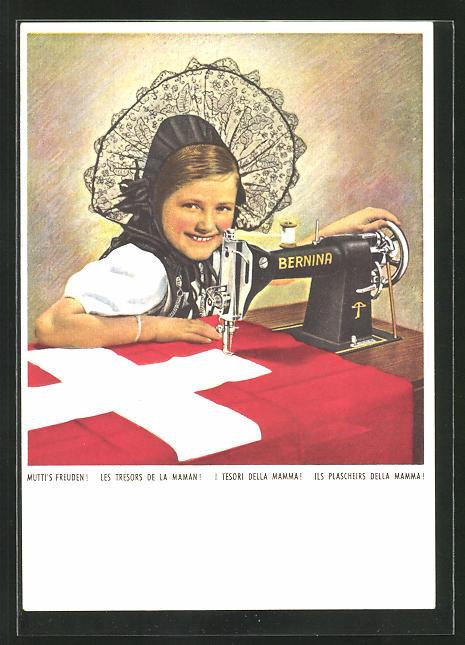 AK Mutti`s Freuden!, kleine Schweizerin mit Bernina-Nähmaschine