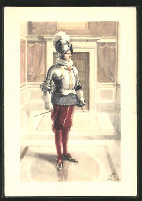Künstler-AK Terzi: Città del Vaticano, Guardia Svizzeria, Commandante in tenuta di gala, schweizer Garde