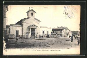 AK Versailles, Eglise Sainte-Elisabeth et rue des Chantiers