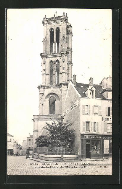 AK Mantes, La Tour St-Maclou vue de la Place du Marche au Ble