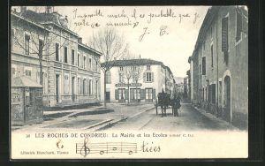 AK Les Roches de Condrieu, La Mairie et les Ecoles, Café de la Mairie
